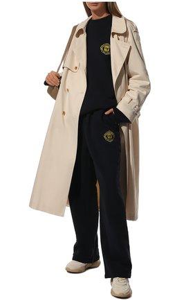 Женские хлопковые брюки BALENCIAGA синего цвета, арт. 674594/TLV60 | Фото 2 (Длина (брюки, джинсы): Стандартные; Материал внешний: Хлопок; Стили: Спорт-шик; Женское Кросс-КТ: Брюки-одежда)