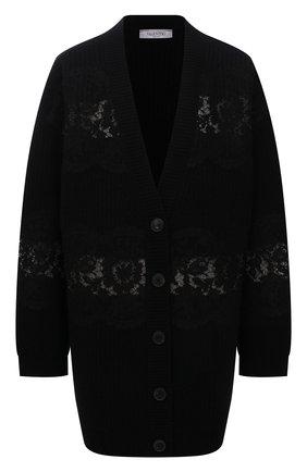 Женский шерстяной кардиган VALENTINO черного цвета, арт. WB3KE00U6M6   Фото 1 (Длина (для топов): Удлиненные; Материал внешний: Шерсть; Рукава: Длинные; Стили: Кэжуэл; Женское Кросс-КТ: кардиган-трикотаж)