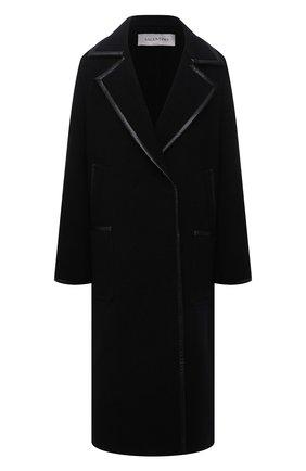 Женское шерстяное пальто VALENTINO черного цвета, арт. WB3CA5V56J9 | Фото 1 (Длина (верхняя одежда): Длинные; Материал внешний: Шерсть; Рукава: Длинные; Стили: Гламурный; 1-2-бортные: Однобортные)