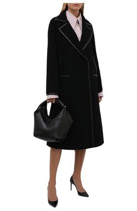 Женское шерстяное пальто VALENTINO черного цвета, арт. WB3CA5V56J9 | Фото 2 (Длина (верхняя одежда): Длинные; Материал внешний: Шерсть; Рукава: Длинные; Стили: Гламурный; 1-2-бортные: Однобортные)