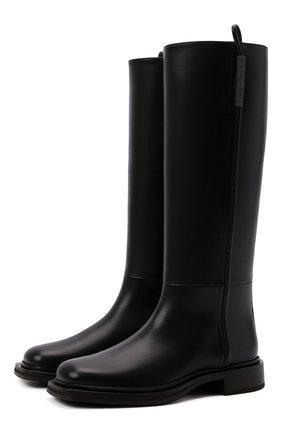 Женские кожаные сапоги BRUNELLO CUCINELLI черного цвета, арт. MZBSC2051 | Фото 1 (Высота голенища: Средние; Подошва: Платформа; Каблук высота: Низкий; Материал внутренний: Натуральная кожа; Каблук тип: Устойчивый)