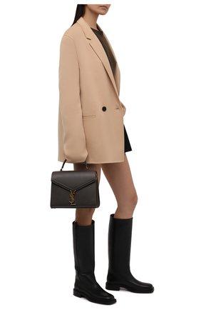 Женские кожаные сапоги BRUNELLO CUCINELLI черного цвета, арт. MZBSC2051 | Фото 2 (Высота голенища: Средние; Подошва: Платформа; Каблук высота: Низкий; Материал внутренний: Натуральная кожа; Каблук тип: Устойчивый)