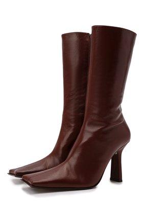 Женские кожаные ботильоны noor MIISTA коричневого цвета, арт. MI_2789 | Фото 1 (Каблук высота: Высокий; Подошва: Плоская; Материал внутренний: Натуральная кожа; Каблук тип: Устойчивый)