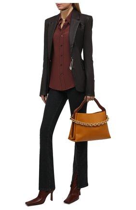 Женские кожаные ботильоны noor MIISTA коричневого цвета, арт. MI_2789 | Фото 2 (Каблук высота: Высокий; Подошва: Плоская; Материал внутренний: Натуральная кожа; Каблук тип: Устойчивый)