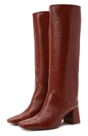 Женские кожаные сапоги finola MIISTA коричневого цвета, арт. MI_3423   Фото 1 (Каблук высота: Средний; Высота голенища: Средние; Подошва: Плоская; Материал внутренний: Натуральная кожа; Каблук тип: Устойчивый)
