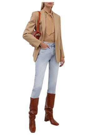 Женские кожаные сапоги finola MIISTA коричневого цвета, арт. MI_3423 | Фото 2 (Каблук высота: Средний; Высота голенища: Средние; Подошва: Плоская; Материал внутренний: Натуральная кожа; Каблук тип: Устойчивый)