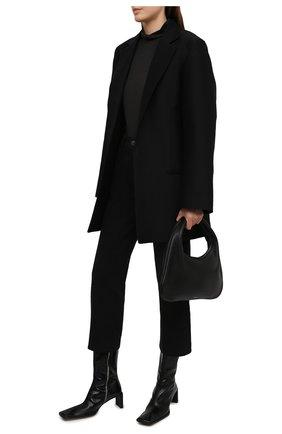 Женские кожаные ботильоны anitha anguilla MIISTA черного цвета, арт. MI_3444 | Фото 2 (Материал внутренний: Натуральная кожа; Подошва: Плоская; Каблук высота: Средний; Каблук тип: Устойчивый)