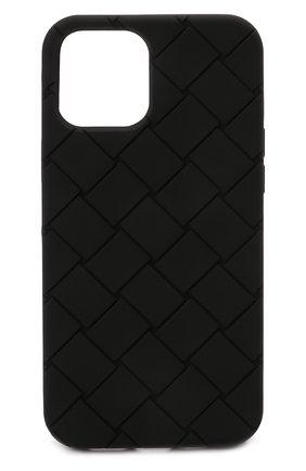 Чехол для iphone 12 pro max BOTTEGA VENETA черного цвета, арт. 670185/V0EY0   Фото 1