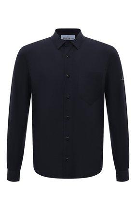Мужская хлопковая рубашка STONE ISLAND темно-синего цвета, арт. 751512501 | Фото 1 (Материал внешний: Хлопок; Рукава: Длинные; Длина (для топов): Стандартные; Случай: Повседневный; Принт: Однотонные; Стили: Кэжуэл; Воротник: Кент; Манжеты: На пуговицах)