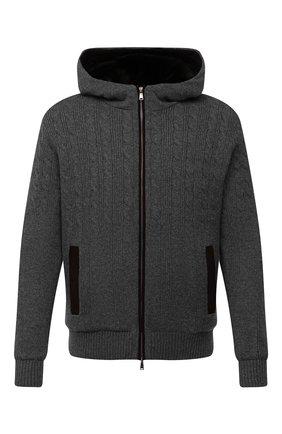 Мужской кашемировый бомбер с меховой подкладкой FIORONI темно-серого цвета, арт. MTP21003E1 | Фото 1 (Материал утеплителя: Натуральный мех; Материал внешний: Кашемир, Шерсть; Рукава: Длинные; Стили: Кэжуэл; Длина (верхняя одежда): Короткие; Кросс-КТ: Куртка; Принт: Без принта; Мужское Кросс-КТ: шерсть и кашемир, утепленные куртки)