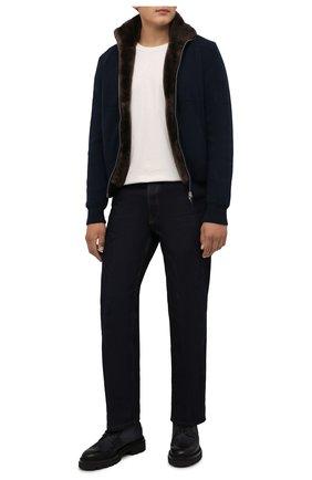 Мужской кашемировый бомбер с меховой подкладкой SVEVO темно-синего цвета, арт. 01039SA21/MP01/2 | Фото 2 (Материал внешний: Кашемир, Шерсть; Стили: Кэжуэл; Кросс-КТ: Куртка; Длина (верхняя одежда): Короткие; Рукава: Длинные; Принт: Без принта; Мужское Кросс-КТ: шерсть и кашемир, утепленные куртки)