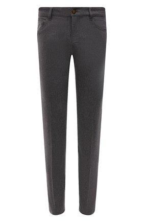 Мужские шерстяные брюки PT TORINO темно-серого цвета, арт. 212-C5 PS05Z00GTL/CM14 | Фото 1 (Длина (брюки, джинсы): Стандартные; Материал внешний: Шерсть; Случай: Повседневный; Стили: Кэжуэл)
