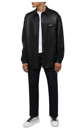Мужские текстильный кеды portofino light DOLCE & GABBANA белого цвета, арт. CS1888/A0779 | Фото 2 (Материал внутренний: Натуральная кожа; Материал внешний: Текстиль; Подошва: Плоская)