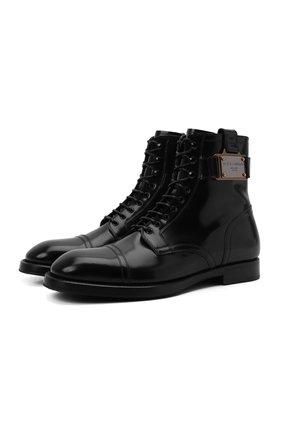Мужские кожаные ботинки michelangelo DOLCE & GABBANA черного цвета, арт. A60359/A1203 | Фото 1 (Подошва: Плоская; Материал внутренний: Натуральная кожа; Мужское Кросс-КТ: Ботинки-обувь)
