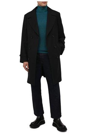 Мужской шерстяная водолазка DANIELE FIESOLI бирюзового цвета, арт. DF 0014   Фото 2 (Материал внешний: Шерсть; Мужское Кросс-КТ: Водолазка-одежда; Принт: Без принта; Стили: Кэжуэл; Рукава: Длинные; Длина (для топов): Стандартные)