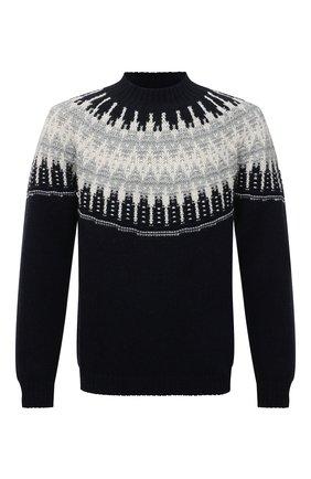 Мужской шерстяной свитер DANIELE FIESOLI темно-синего цвета, арт. DF 0056 | Фото 1 (Длина (для топов): Стандартные; Материал внешний: Шерсть; Рукава: Длинные; Мужское Кросс-КТ: Свитер-одежда; Принт: С принтом; Стили: Кэжуэл)