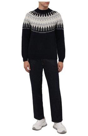 Мужской шерстяной свитер DANIELE FIESOLI темно-синего цвета, арт. DF 0056 | Фото 2 (Длина (для топов): Стандартные; Материал внешний: Шерсть; Рукава: Длинные; Мужское Кросс-КТ: Свитер-одежда; Принт: С принтом; Стили: Кэжуэл)