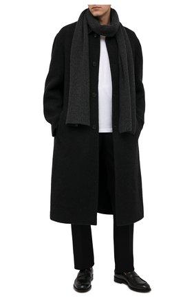 Мужской кашемировый шарф DANIELE FIESOLI темно-серого цвета, арт. WS 7000   Фото 2 (Материал: Шерсть, Кашемир; Кросс-КТ: кашемир)