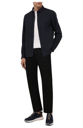 Мужские текстильные кроссовки BRUNELLO CUCINELLI темно-синего цвета, арт. MZUTSC0279 | Фото 2 (Материал внутренний: Натуральная кожа, Текстиль; Материал внешний: Текстиль; Подошва: Массивная; Стили: Спорт)