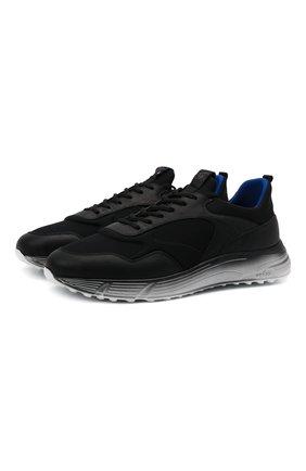 Мужские комбинированные кроссовки HOGAN черного цвета, арт. HXM5660DV30QH9   Фото 1 (Материал внутренний: Текстиль; Подошва: Массивная; Материал внешний: Текстиль; Стили: Спорт)