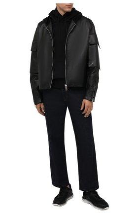Мужские комбинированные кроссовки HOGAN черного цвета, арт. HXM5660DV30QH9   Фото 2 (Материал внутренний: Текстиль; Подошва: Массивная; Материал внешний: Текстиль; Стили: Спорт)