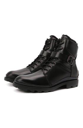 Мужские кожаные ботинки TOD'S черного цвета, арт. XXM04E0EF11T1C | Фото 1 (Материал утеплителя: Натуральный мех; Мужское Кросс-КТ: Ботинки-обувь, зимние ботинки, Байкеры-обувь; Подошва: Плоская)