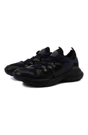 Мужские комбинированные кроссовки TOD'S темно-синего цвета, арт. XXM54C0EN00Q88 | Фото 1 (Материал внешний: Текстиль; Подошва: Массивная; Материал внутренний: Текстиль; Стили: Гранж)