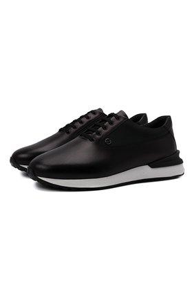 Мужские кожаные кроссовки ZILLI черного цвета, арт. MDW-T177/002 | Фото 1 (Материал внутренний: Текстиль; Подошва: Массивная; Стили: Классический)