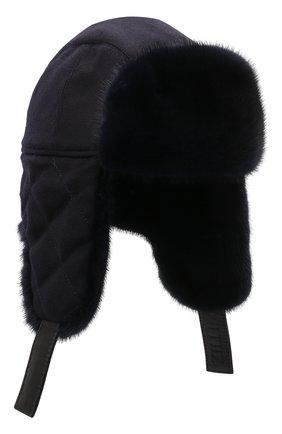 Мужская кашемировая шапка с меховой отделкой ZILLI темно-синего цвета, арт. MHQ-0RS0M-30337/1002 | Фото 1 (Материал: Кашемир, Шерсть)