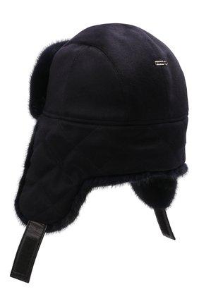 Мужская кашемировая шапка с меховой отделкой ZILLI темно-синего цвета, арт. MHQ-0RS0M-30337/1002 | Фото 2 (Материал: Кашемир, Шерсть)