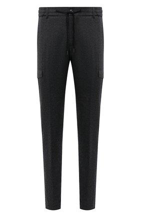 Мужские шерстяные брюки-карго BERWICH темно-серого цвета, арт. SUB/RD5470 | Фото 1 (Материал внешний: Шерсть; Материал подклада: Купро; Случай: Повседневный; Стили: Кэжуэл; Силуэт М (брюки): Карго; Длина (брюки, джинсы): Стандартные)