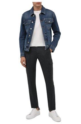 Мужские шерстяные брюки-карго BERWICH темно-серого цвета, арт. SUB/RD5470 | Фото 2 (Материал внешний: Шерсть; Материал подклада: Купро; Случай: Повседневный; Стили: Кэжуэл; Силуэт М (брюки): Карго; Длина (брюки, джинсы): Стандартные)