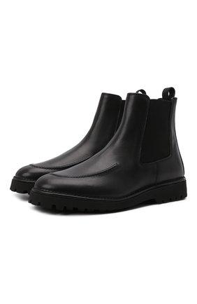 Мужские кожаные челси KENZO черного цвета, арт. FB55BT010L66 | Фото 1 (Материал внутренний: Натуральная кожа; Подошва: Плоская; Мужское Кросс-КТ: Сапоги-обувь, Челси-обувь)