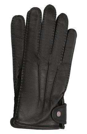 Мужские кожаные перчатки ERMENEGILDO ZEGNA черного цвета, арт. Z2G10G/G2A | Фото 1 (Мужское Кросс-КТ: Кожа и замша)