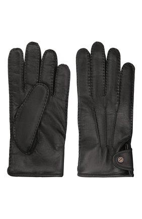 Мужские кожаные перчатки ERMENEGILDO ZEGNA черного цвета, арт. Z2G10G/G2A | Фото 2 (Мужское Кросс-КТ: Кожа и замша)