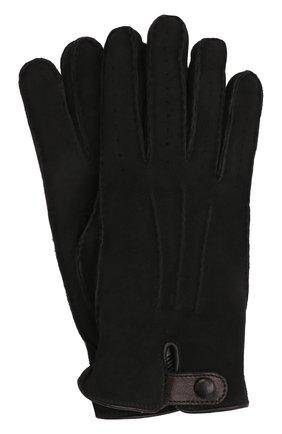 Мужские замшевые перчатки GIORGIO ARMANI черного цвета, арт. 744149/1A207 | Фото 1 (Мужское Кросс-КТ: Кожа и замша)