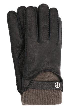 Мужские кожаные перчатки GIORGIO ARMANI черного цвета, арт. 744130/1A208 | Фото 1 (Мужское Кросс-КТ: Кожа и замша)
