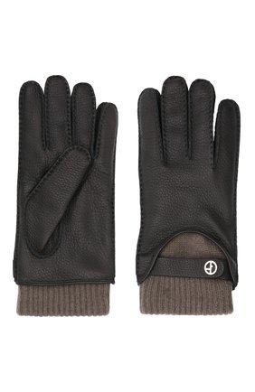Мужские кожаные перчатки GIORGIO ARMANI черного цвета, арт. 744130/1A208 | Фото 2 (Мужское Кросс-КТ: Кожа и замша)