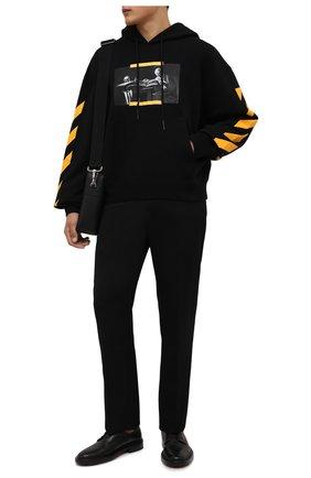 Мужской хлопковое худи OFF-WHITE черного цвета, арт. 0MBB037F21FLE011 | Фото 2 (Длина (для топов): Стандартные; Материал внешний: Хлопок; Рукава: Длинные; Мужское Кросс-КТ: Худи-одежда; Принт: С принтом; Стили: Гранж)