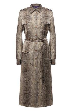 Женское шелковое платье RALPH LAUREN хаки цвета, арт. 290845732 | Фото 1 (Материал внешний: Шелк; Рукава: Длинные; Стили: Гламурный; Случай: Повседневный; Длина Ж (юбки, платья, шорты): До колена; Женское Кросс-КТ: Платье-одежда)