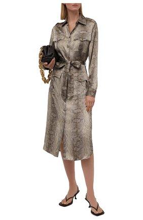 Женское шелковое платье RALPH LAUREN хаки цвета, арт. 290845732 | Фото 2 (Материал внешний: Шелк; Рукава: Длинные; Стили: Гламурный; Случай: Повседневный; Длина Ж (юбки, платья, шорты): До колена; Женское Кросс-КТ: Платье-одежда)