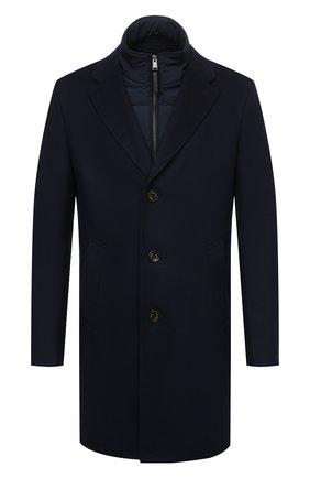 Мужской шерстяное пальто BOSS темно-синего цвета, арт. 50463053   Фото 1 (Рукава: Длинные; Длина (верхняя одежда): До середины бедра; Материал внешний: Шерсть; Мужское Кросс-КТ: пальто-верхняя одежда; Стили: Классический)