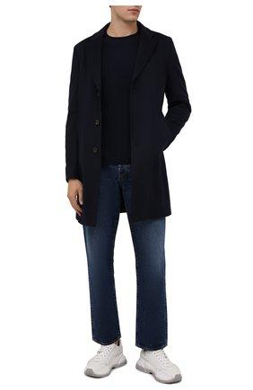 Мужской шерстяное пальто BOSS темно-синего цвета, арт. 50463053   Фото 2 (Рукава: Длинные; Длина (верхняя одежда): До середины бедра; Материал внешний: Шерсть; Мужское Кросс-КТ: пальто-верхняя одежда; Стили: Классический)