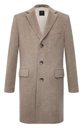 Мужской шерстяное пальто BOSS светло-бежевого цвета, арт. 50460419 | Фото 1 (Материал внешний: Шерсть; Рукава: Длинные; Длина (верхняя одежда): До середины бедра; Мужское Кросс-КТ: пальто-верхняя одежда; Стили: Кэжуэл)