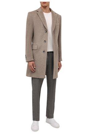 Мужской шерстяное пальто BOSS светло-бежевого цвета, арт. 50460419 | Фото 2 (Материал внешний: Шерсть; Рукава: Длинные; Длина (верхняя одежда): До середины бедра; Мужское Кросс-КТ: пальто-верхняя одежда; Стили: Кэжуэл)