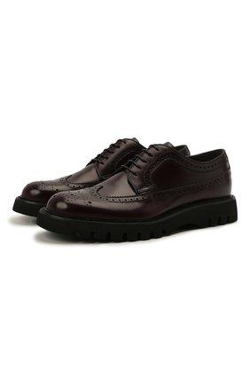 Мужские кожаные дерби BARRETT бордового цвета, арт. BASTIA-001.11/P0LISHED B | Фото 1 (Материал внутренний: Натуральная кожа; Стили: Классический; Мужское Кросс-КТ: Броги-обувь)