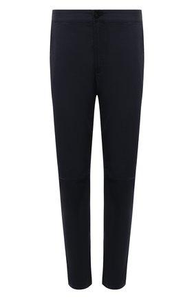 Мужские брюки из хлопка и шерсти STONE ISLAND темно-синего цвета, арт. 751530914 | Фото 1 (Материал внешний: Хлопок; Случай: Повседневный; Стили: Кэжуэл; Длина (брюки, джинсы): Стандартные)
