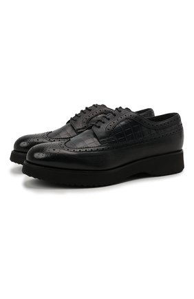 Мужские кожаные дерби DOUCAL'S темно-синего цвета, арт. DU1270DAK0PT019NB00 | Фото 1 (Материал внутренний: Текстиль, Натуральная кожа; Стили: Классический; Мужское Кросс-КТ: Броги-обувь)