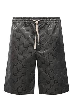 Мужские шорты GUCCI темно-серого цвета, арт. 654859/ZAEBN | Фото 1 (Материал внешний: Синтетический материал; Мужское Кросс-КТ: Шорты-одежда; Принт: С принтом; Стили: Спорт-шик; Длина Шорты М: Ниже колена)