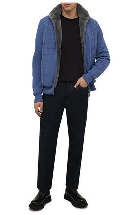 Мужской кашемировый бомбер с меховой подкладкой SVEVO синего цвета, арт. 01039SA21/MP01/2 | Фото 2 (Материал внешний: Шерсть, Кашемир; Стили: Кэжуэл; Кросс-КТ: Куртка; Рукава: Длинные; Длина (верхняя одежда): Короткие; Принт: Без принта; Мужское Кросс-КТ: шерсть и кашемир, утепленные куртки)